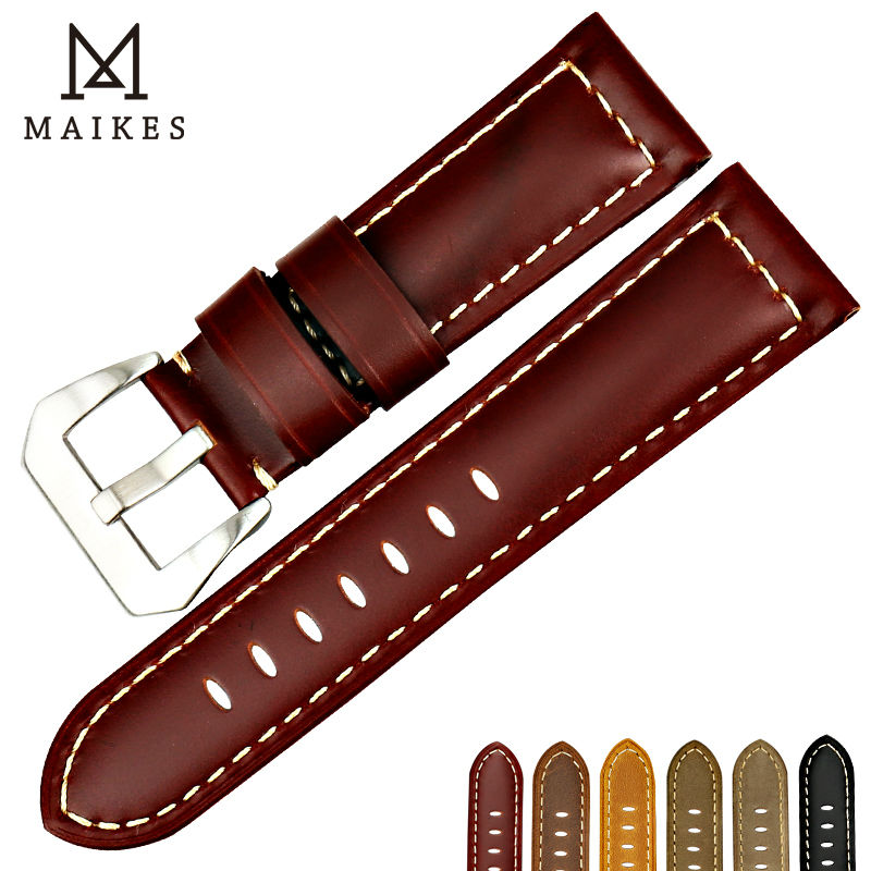MAIKES New design watchbands for Fossil 22 24 26mm vintage genuine cow leather watch strap band watch accessories for Panerai maikes 18mm 20mm 22mm watch belt accessories watchbands black genuine leather band watch strap watches bracelet for longines
