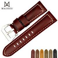 MAIKES thiết kế Mới watchbands đối Hóa Thạch 22 24 26 mét vintage chính hãng cow leather watch strap nhạc xem phụ kiện cho Panerai