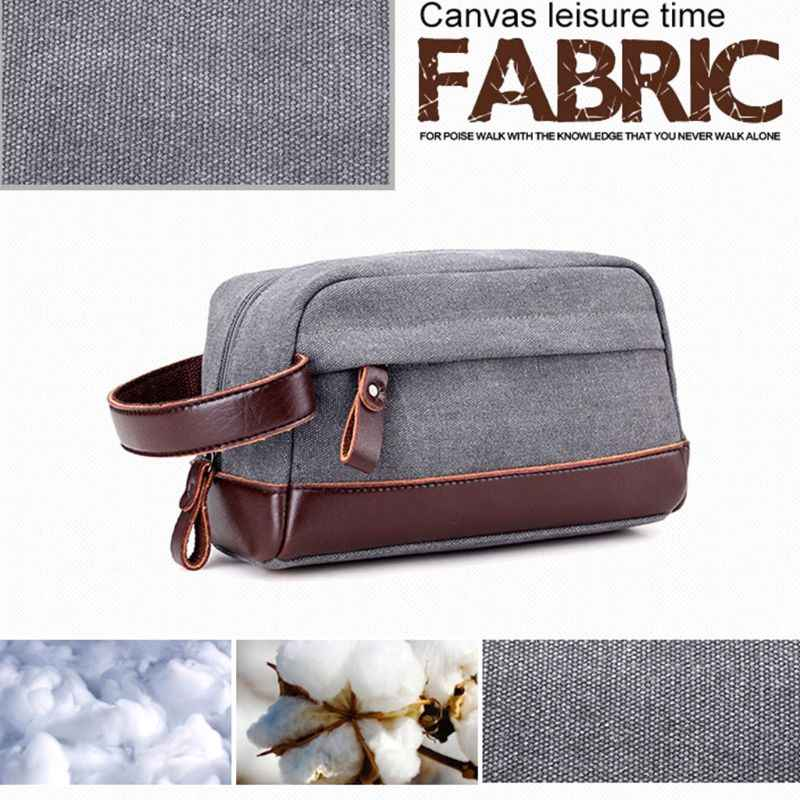 2f13ed9084 ... Men Travel Canvas Toiletry Bag Organizer Boy Portable Makeup Case  Casual Pouch