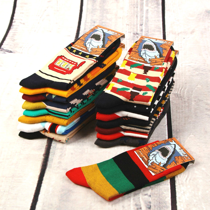 12pairs/lot Colorful Casual Mens Happy Socks High Quality Combed Cotton Men Socks Cartoon Designs Funny Crew Compression Socks