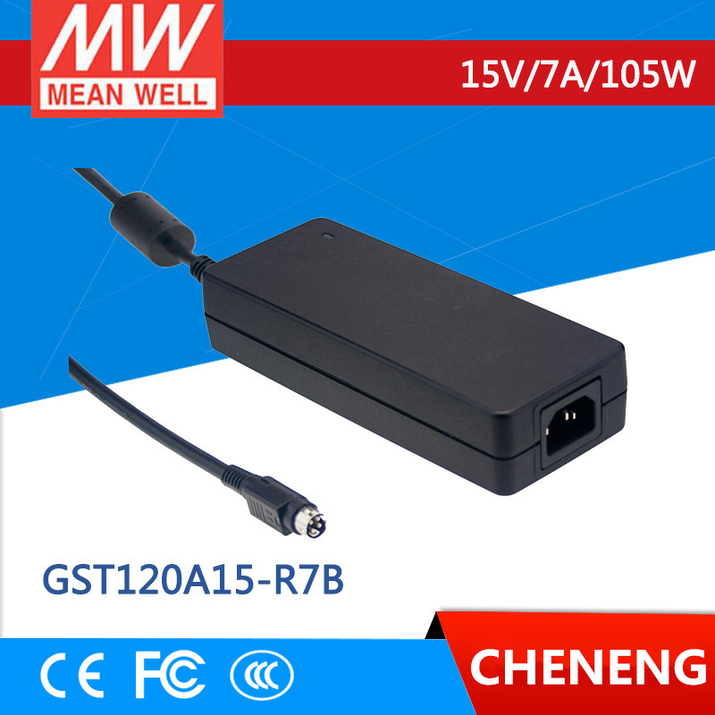 цена на MEAN WELL original GST120A15-R7B 15V 7A meanwell GST120A 15V 105W AC-DC High Reliability Industrial Adaptor