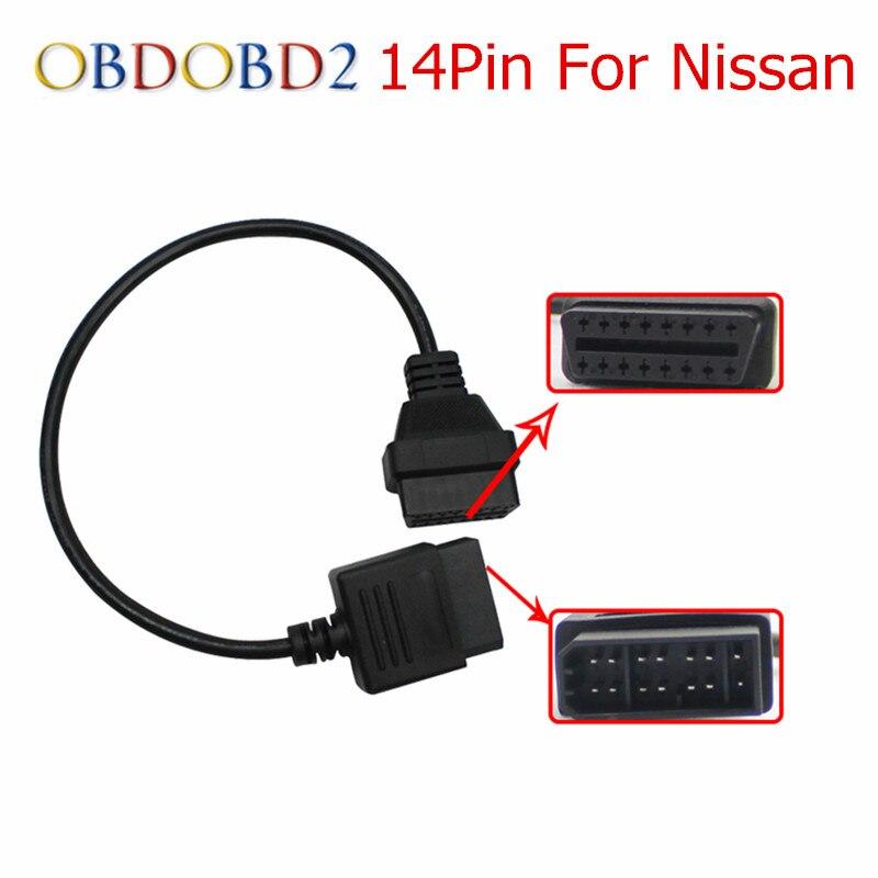 Лучшее качество для Nissan 14Pin до 16Pin женский OBD2 Диагностический Соединительный адаптер кабель 14 Pin до 16 Pin для Nissan Бесплатная доставка