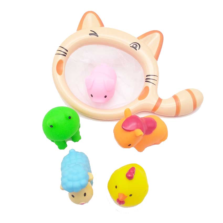 6 PCS Baby Bath Toys Swimming Gifts Soft Farm Animals Cartoon Rubber Squeeze With Water Spray Bathing Toys Fishing Toys