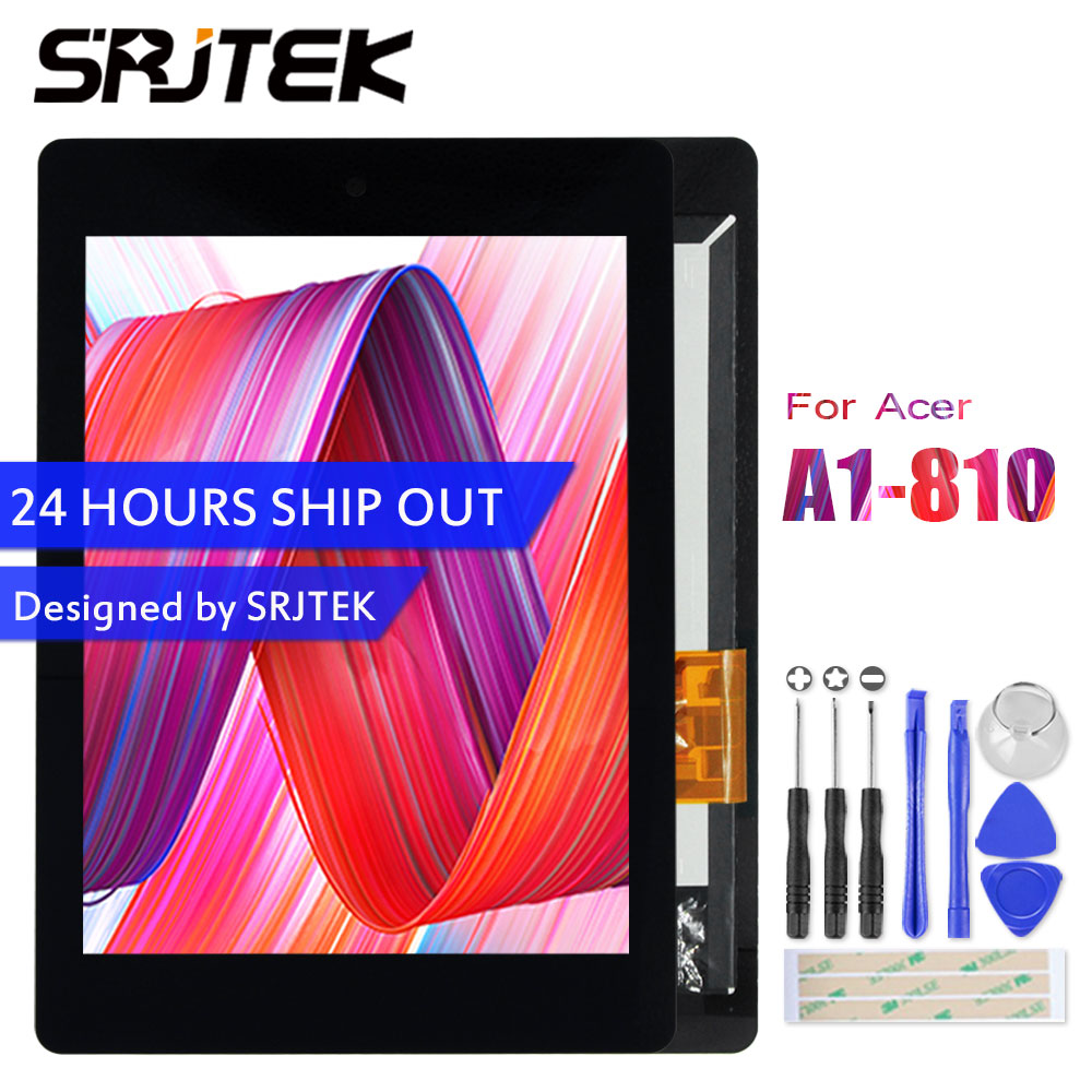 Srjtek 7.9'' For Acer iconia tab A1-810 A1 810 A1-811 A1 811 LCD Display Matrix Touch Screen Digitizer Assembly B080XAT01.1 for acer iconia tab a1 a1 810 lcd display touch screen with digitizer assembly black