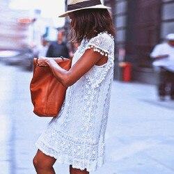 Lato Style moda kobiety dorywczo koronki Sukienka bez rękawów dorywczo pomponem Mini sukienki gorąca sprzedaży Sukienka Damska 2