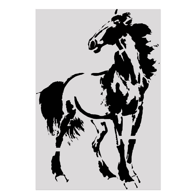 26*18cm DIY Craft Steed Pattern Stencils Template For Wall Painting DIY Fabric Painting Photo Album Decorative