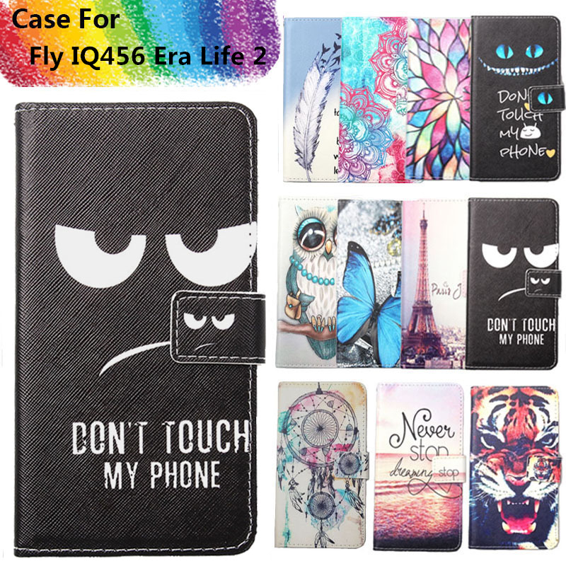 Fashion 11 Colors Cartoon Painting PU Leather Magnetic clasp Wallet Cover For Fly IQ456 Era Life 2 Case
