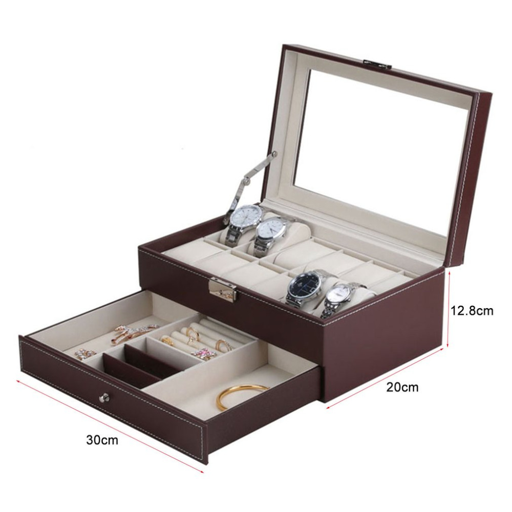 12 Grids Slots Professional Watches Storage Box Double Layers PU Leather Watch Case Organizer Box Holder Black Brown Colors - 6