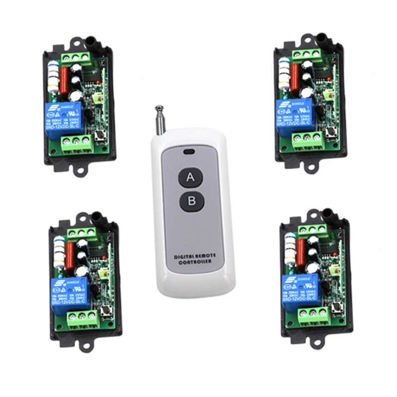Free shipping 1 Channel ON/OFF AC220V 110V 10A RF Wireless Remote Control Switch Controller And 4 Receivers For Light Lamp 4216