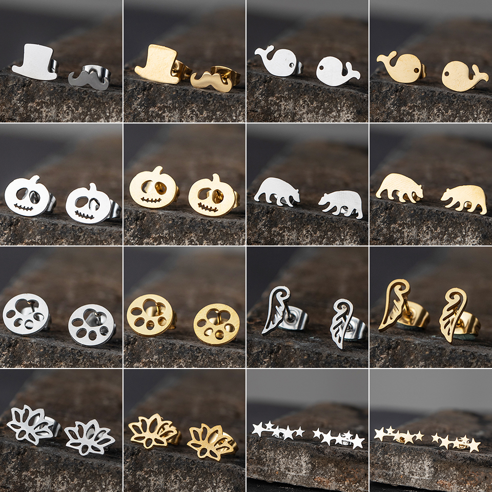 New Minimalist Multiple golden Stainless Steel Animal Heart Cute Stud Earrings for Women Girls Ear Ornaments Jewlery Gifts(China)