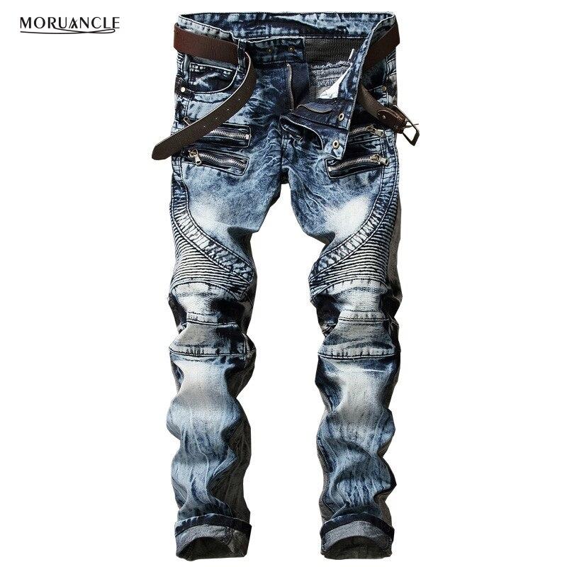 MORUANCLE Fashion Men's Biker Jeans Pants Slim Fit Pleated Motocycle Denim Trousers Brand Designer Multi Zippers Straight