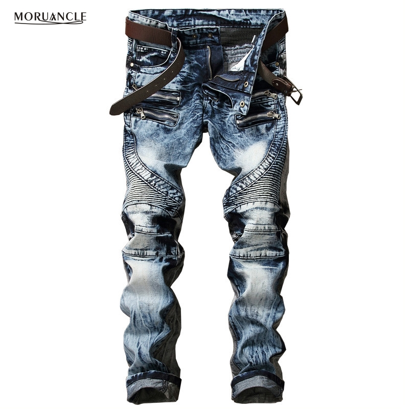 Newsosoo Fashion Men's Biker   Jeans   Pants Slim Fit Pleated Motocycle Denim Trousers Brand Designer Multi Zippers Straight