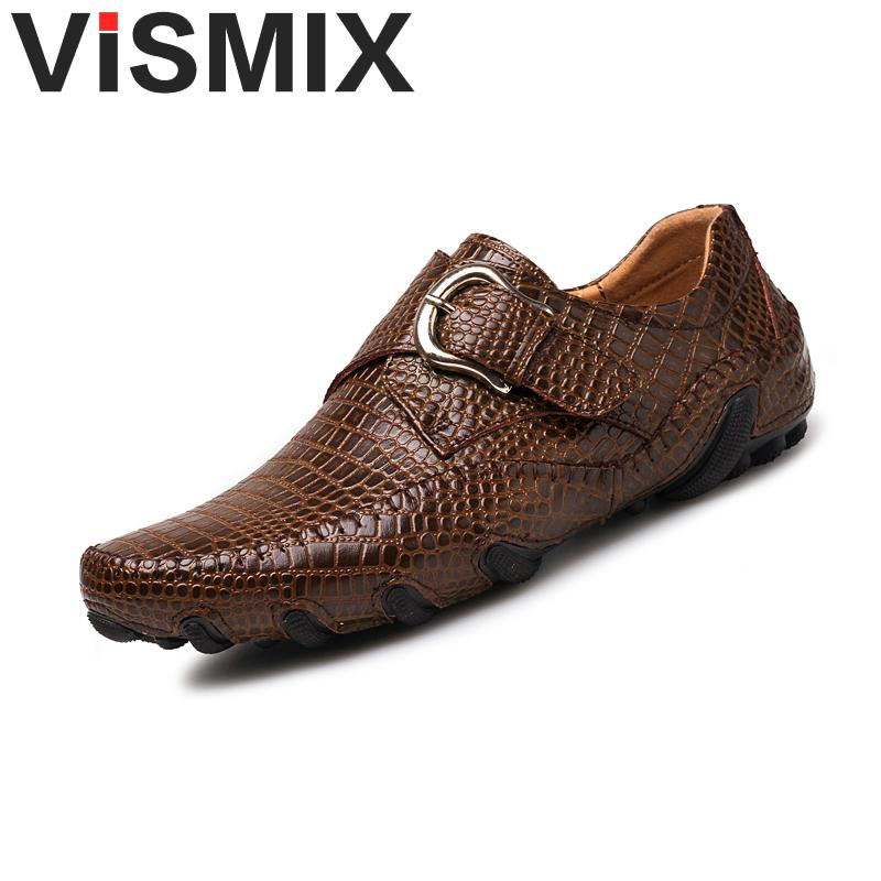 цены VISMIX New Shoes Men Casual Shoes Leather Summer Breathable Holes Luxury Brand Flat Shoes for Men Drop Shipping Plus Size 46 47