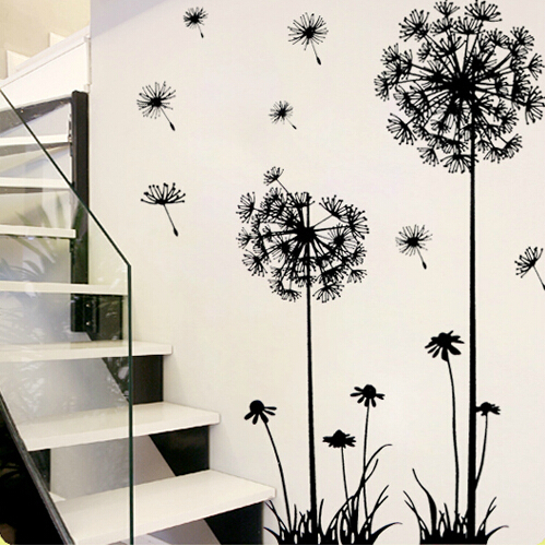 ... 1 Set 51*65 Inch Removable PVC Decals Beautiful Dandelion Wall Poster  For Living Room ... Part 87