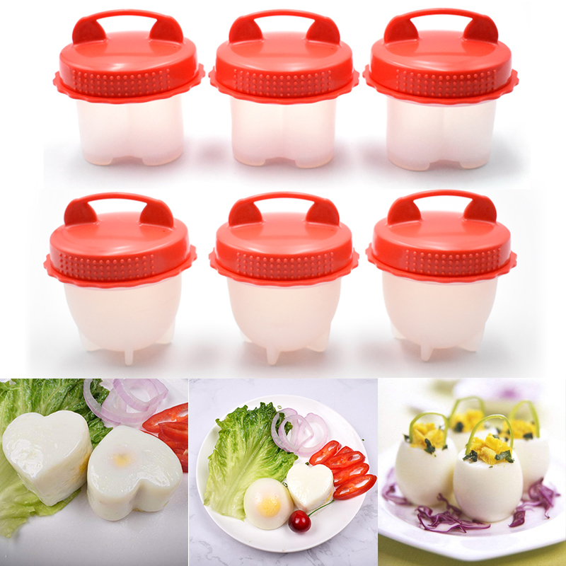 6pcs/set Kitchen Red Silicone Egg Cup Maker Egg Cooker Hard Boil Eggs Without The Shell Tools Mold Easy Cook Egg Poacher Boiler