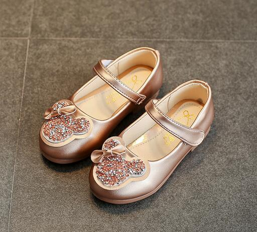 Childrens shoes 2018 new sequined casual children leather wave light cartoon girl princess unit size 26-30
