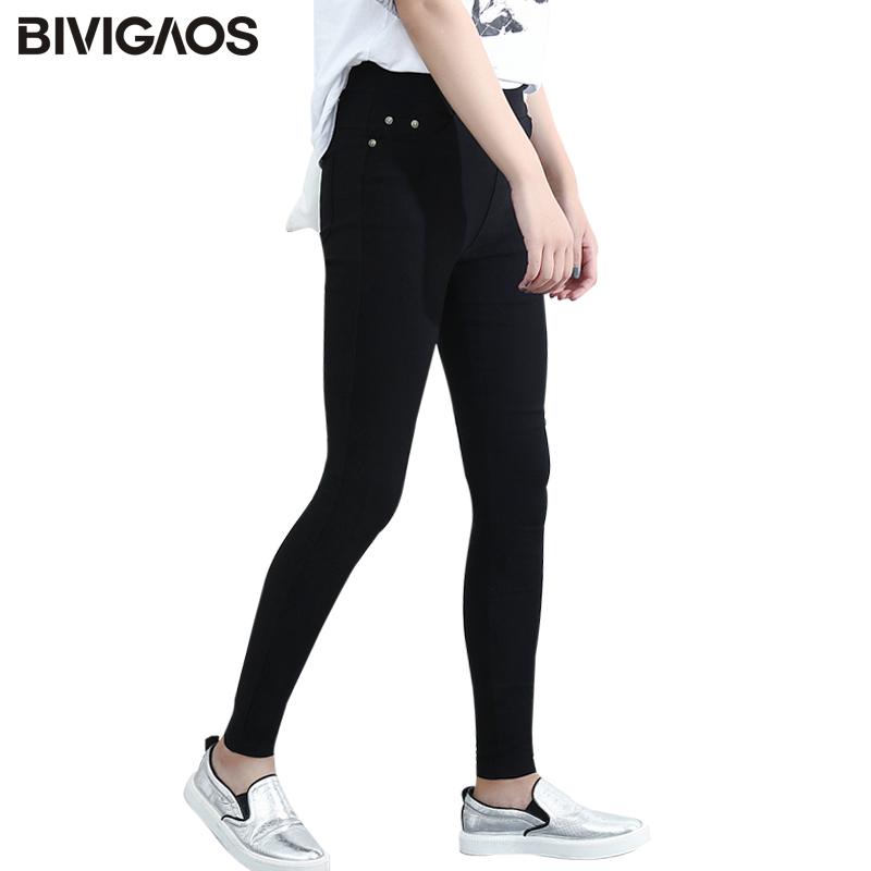 BIVIGAOS Fjäder Mode Kvinnor Casual Skinny Leggings Slim Hög Elastisk Pocket Penna Byxor Vävda Leggings For Women Jeggings