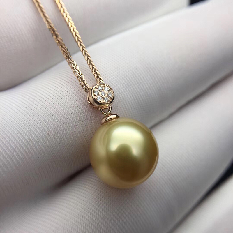 Sinya Real diamond southsea golden pearl pendant 18K Gold necklace choker include au750 gold chains For women Mum girls Gift bk 4371 18k alloy crystal artificial fancy color diamond pendant necklace golden 45cm