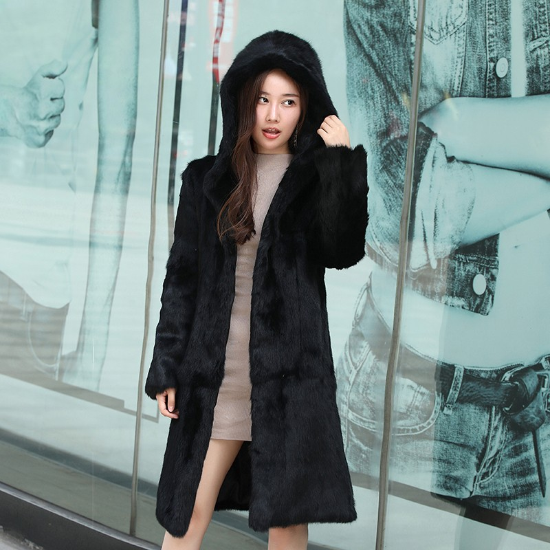 2019 Genuine Rabbit Fur Coat With Hood Women 90cm X long Full Pelt Rabbit Fur Jacket
