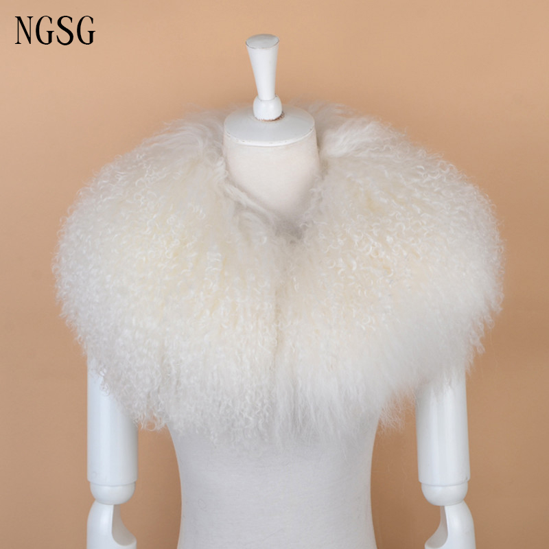 Winter Black Genuine Mongolia Sheep Round Ring Real Fur Collar Sweater Grey Sheepskin Collars Thickened Wool Collar Scarf Girl