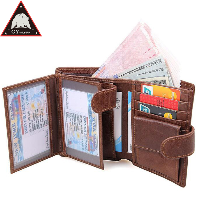 ANAPH Brand Genuine Cow Leather Men Wallet Fashion Coin Pocket Trifold Design Men Purse High Quality Women Card ID Holder RFID