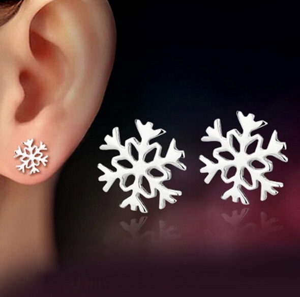 OMHXZJ Wholesale Sexy girl Fashion jewelry No allergy no discoloration flowers snowflake 925 sterling silver Stud earrings YS50