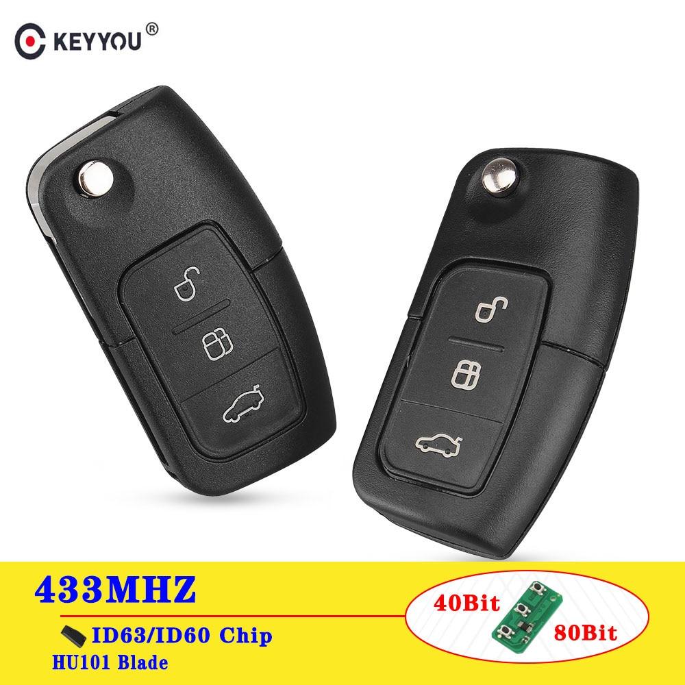 KEYYOU 433 МГц 4D63/4D60 чип флип-пульт дистанционного управления автомобильный ключ для Ford Focus 3 2 Mondeo Fiesta Брелок чехол 3 кнопки 80/40 бит