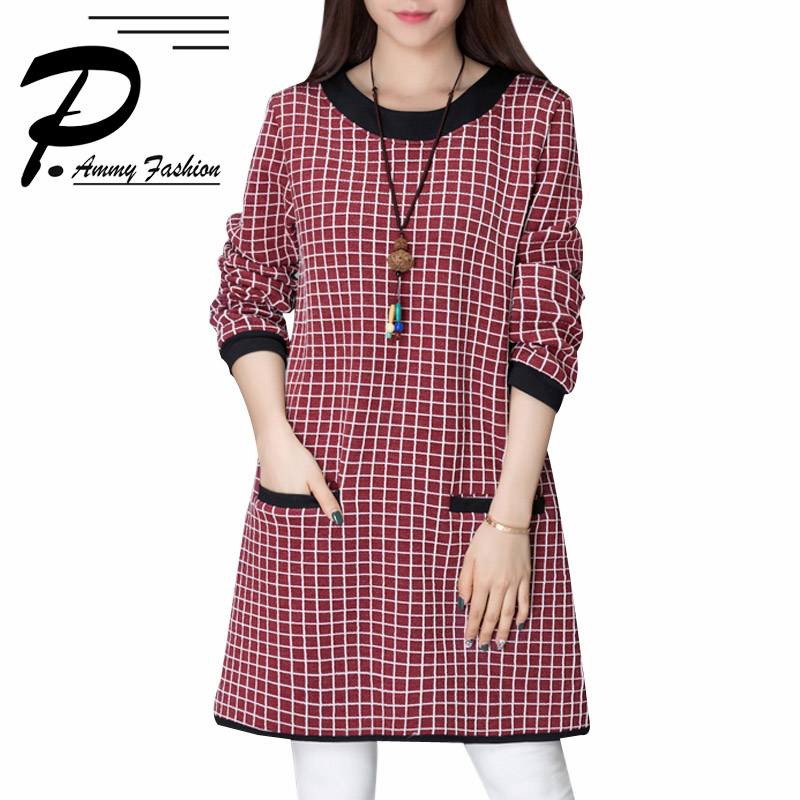 US $22.87 48% OFF|Women\'s Plus Size Long Sleeve Plaid O Neck Jumper Dress  Ladies Autumn Loose Tunic Dress-in Dresses from Women\'s Clothing on ...