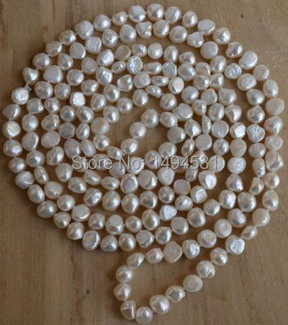 Wholesale Pearl Jewelry , 64 Inches Long 8-9mm White Baroque Color Genuine Freshwater Pearl Necklace - Handmade - Free Shipping.