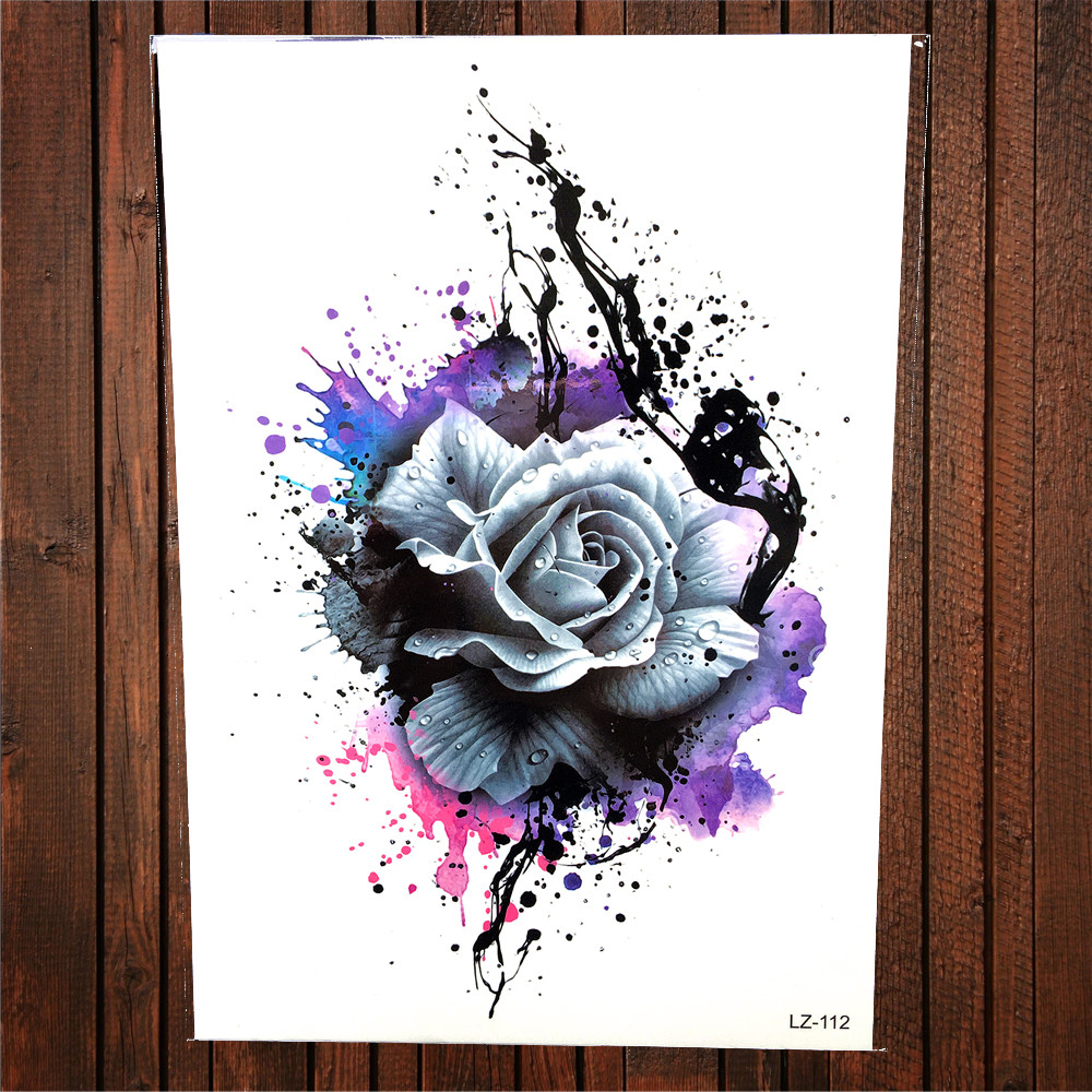 Large Watercolor Henna Rose Geometric Flower Temporary ...
