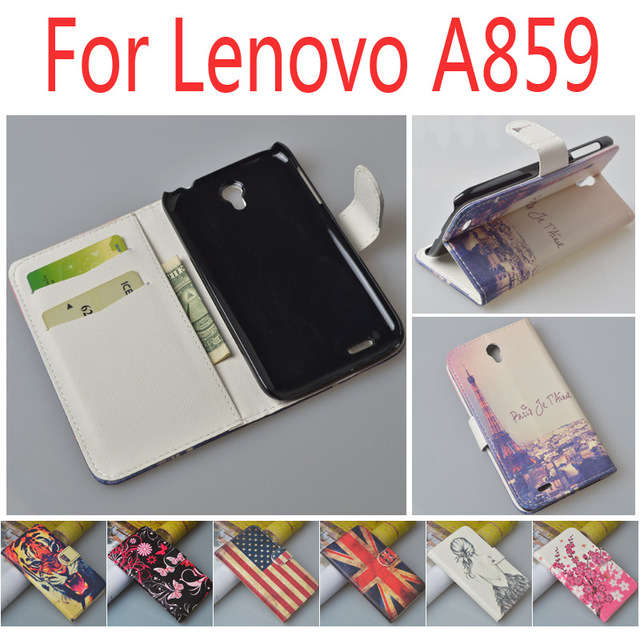 Luxury Leather case for Lenovo A859 A 859 flip cover case housing with card slot LenovoA859