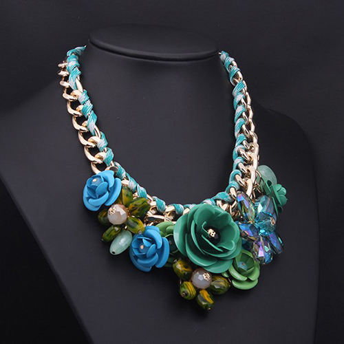 Adjustable Fashion Women Gold Chain Rhinestone Crystal & Rose Big Flower Necklace