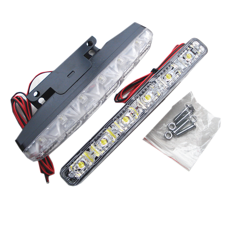 New LED energy saving waterproof 6SMD DRL daytime running lights <font><b>lamp</b></font> 3W*2 cold white <font><b>E4</b></font> fog driving lights image