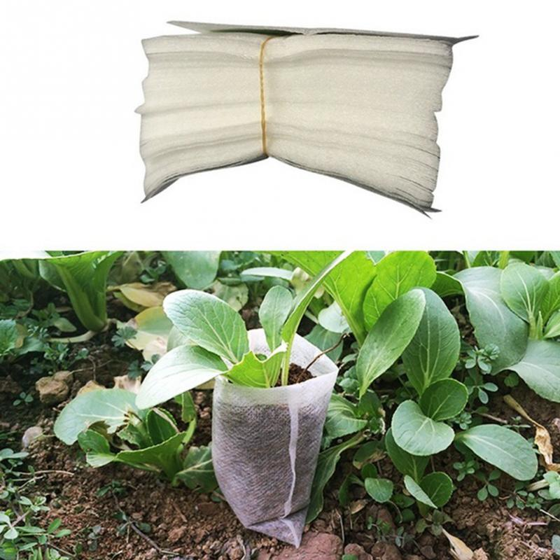 New Arrival,100pcs/set 8*10cm Non-woven Fabric Seedling Raising Bags Nursery Pots Row Bag Planter Bag Home Garden Supplies.(China)