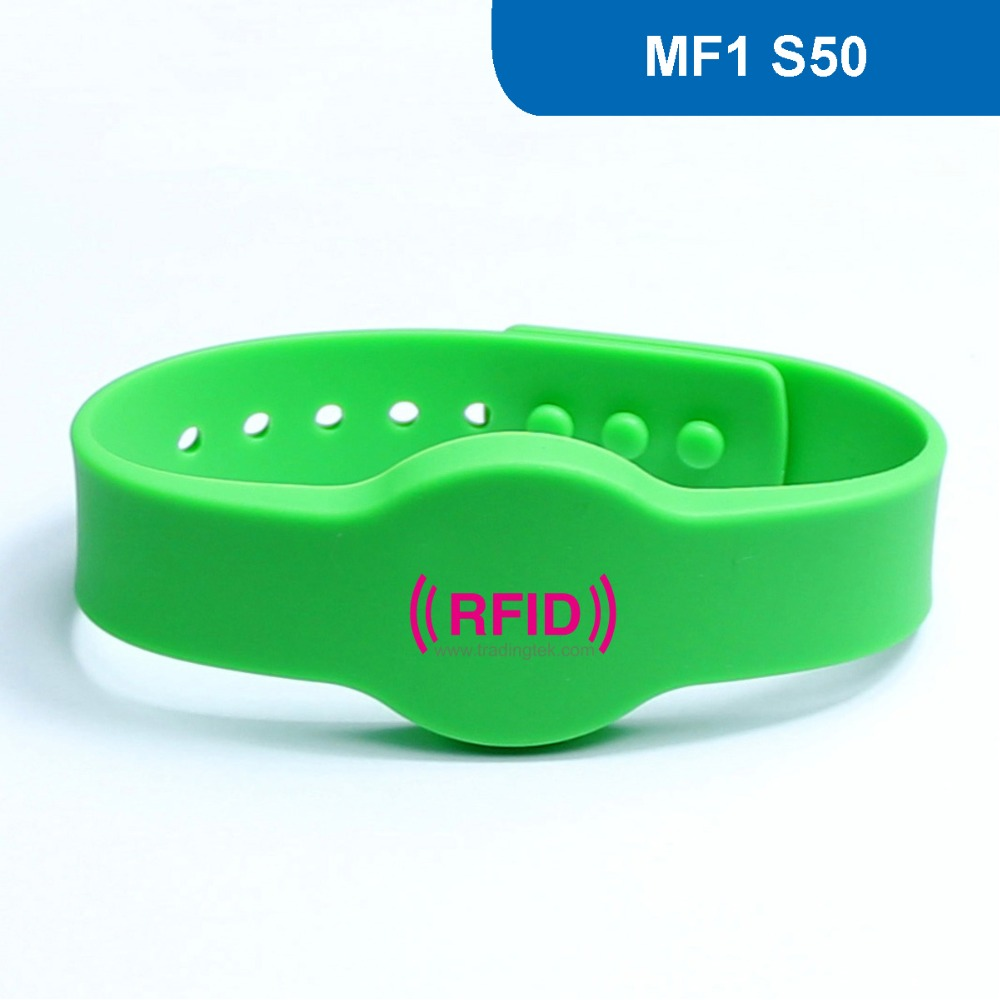 WB04 Silicone RFID Wristband RFID armbands NFC Smart Contactless proximity tag  ISO14443A 13.56MHz with M1 S50 Chip waterproof contactless proximity tk4100 chip 125khz abs passive rfid waste bin worm tag for waste management