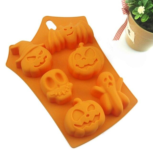 Holiday Pumpkin Cake Mold 6 Cavities Ghost Bat Shape Chocolate Molds Diy Decorating Tools