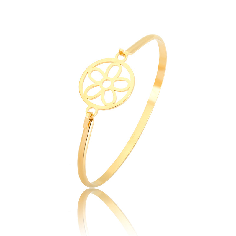 Doreen Box Stainless Steel Bangles Bracelets Gold Color Hollow Out Round Flower Can Open Jewelry 19cm(7 48) long, 1 Piece