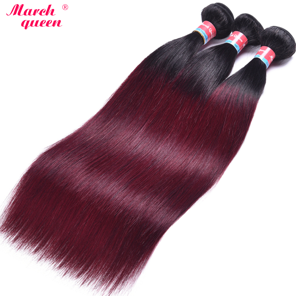 Independent March Queen 3 Bundles Malaysian Straight Hair Ombre T1b/99j Human Hair Weave 2 Tone Color Hair Extensions Double Weft 10-24 To Prevent And Cure Diseases Hair Weaves Human Hair Weaves