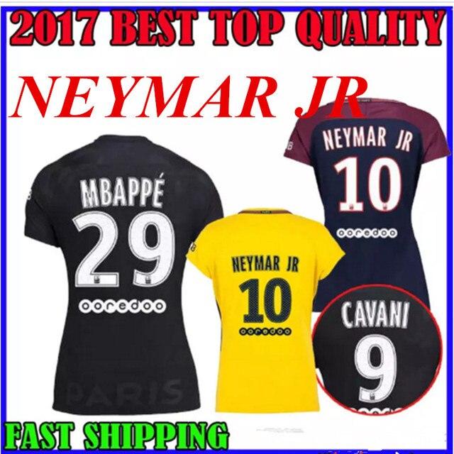 a1b50aab7 17 18 psg women MBAPPE soccer jerseys home neymar jr away YELLOW 2017  football shirts verratti cavani third 3rd maillot de foot