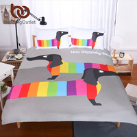 BeddingOutlet Dachshund Sausage Duvet Cover Set Cute Rainbow Puppy Bedding Set Queen Size Breathable Soft Cartoon