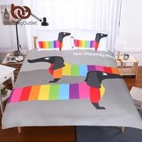 BeddingOutlet Dachshund Sausage Duvet Cover Set Cute Rainbow Puppy Bedding Set Queen Size Breathable Soft Cartoon