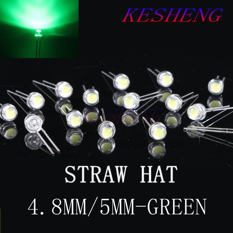 Straw-Hat Diode-Lamp Led-Light Clear-Lens Emitting Green 1000pcs 5mm Through-Hole Wide-Angle