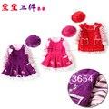 Детская мода 2014 весна осень платье ребенка и детской одежды комплект девушка платье + дети свитер + шляпа 3 шт. комплект по уходу за детьми свободного покроя платье