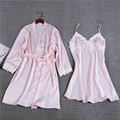 Fashion Lace 2017 New Design Women's Nightgown + Bathrobe Two Pieces Sleep & Lounge Set Luxury Sexy Female Sleepwear Silk Satin