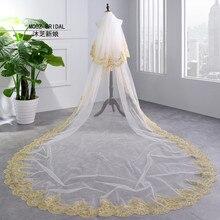 Свадебные вуали Новые Реальные изображения 3,5 м длина двухслойные элегантные роскошные длинные элегантные кружева Свадебные вуали с гребешком