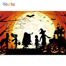 Yeele Halloween Pumpkin Moon Castle Witch Customized Photography Backdrop Personalized Photographic Backgrounds For Photo Studio