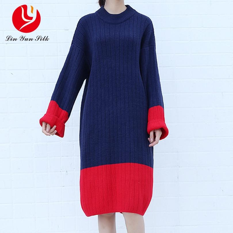 Oversized Plus Size Women Sweater Dress Casual Lady Top Tunic Fashion Female Loose Knitted Dresses Patchwork Vestido Feminino