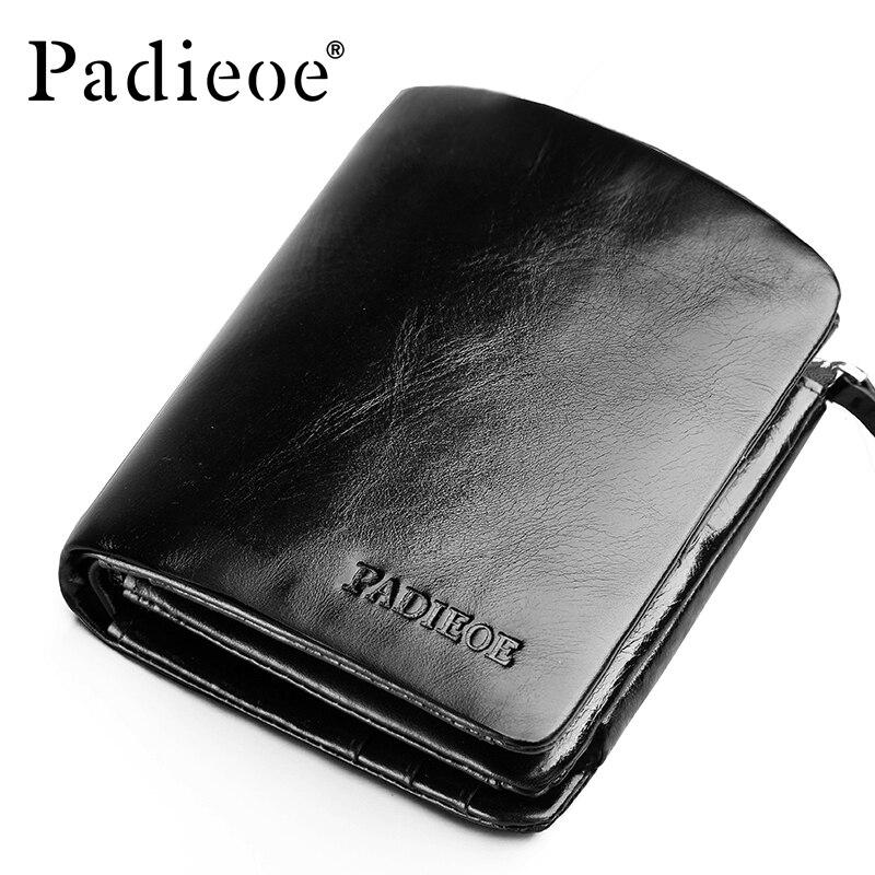 Padieoe Casual Women Genuine Cow Leather Short Wallet Luxury Three fold Men's Purse Fashion Business Leather Money Bag Notecase