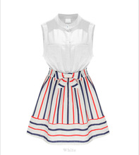 Womens Summer Style Fashion Stand Collar Stripes Spell Color Slim Sleeveless Dress Plus Size PA3251