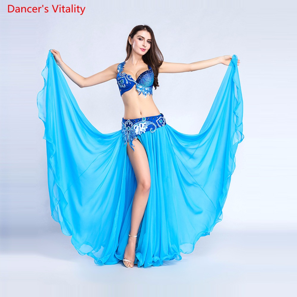 Luxury For Women Belly Dance Costume Bra Belt Skirt Set Of 3 Pieces Performance Show Costume White Sky Blue Free Shipping
